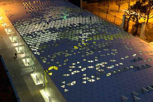 Solar powered design centre - at night