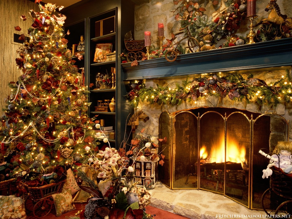 Christmas Interiors Tree And Fireplace