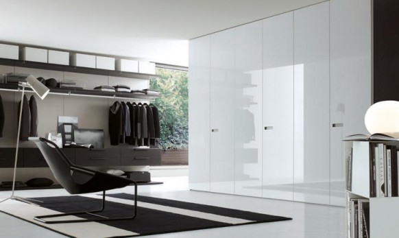 walk in wardrobe in white