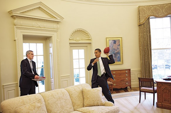 a playful moment at the oval office
