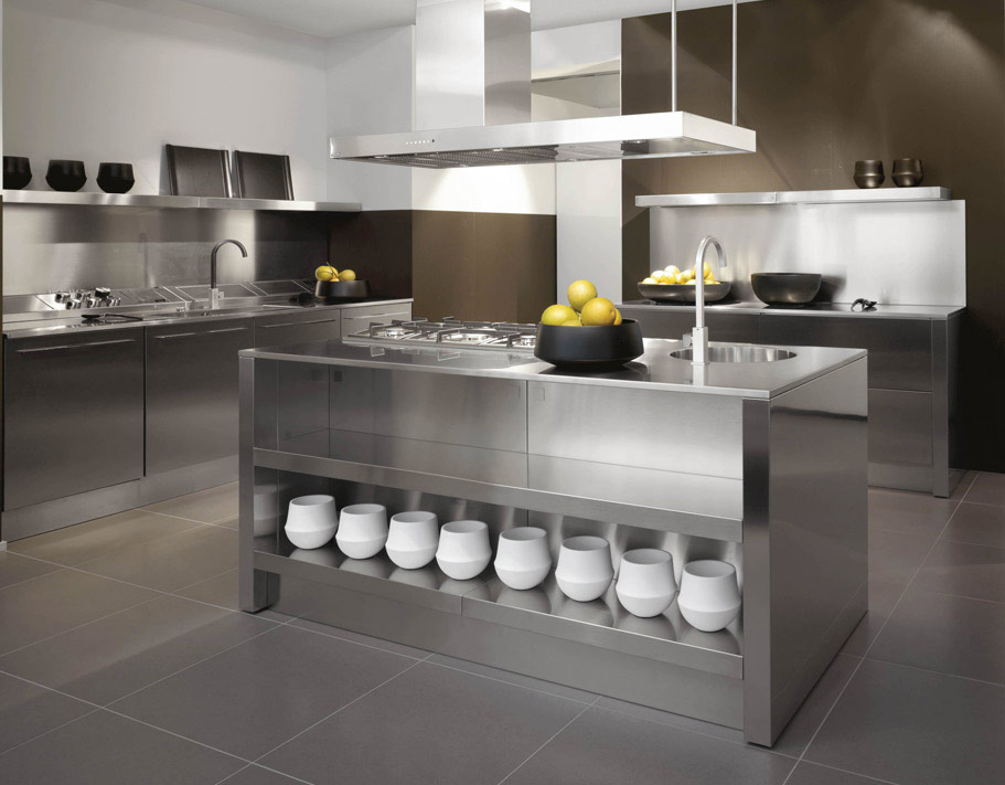 Stainless steel kitchen designs for Metal kitchen cabinets