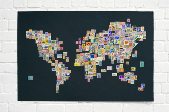 world map from stamps