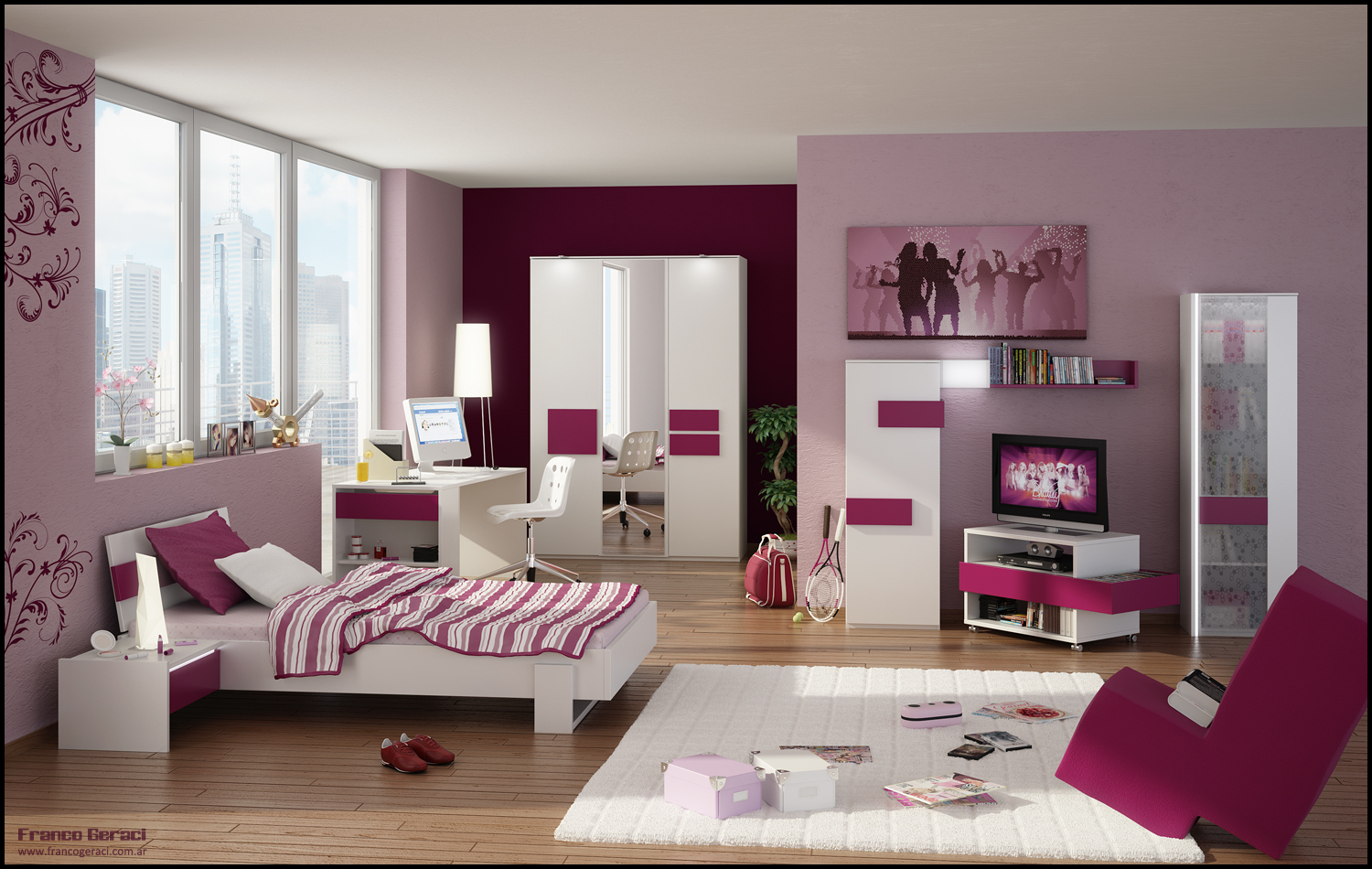 3dteen room byFEG Bedroom Designs For Teenage Girls