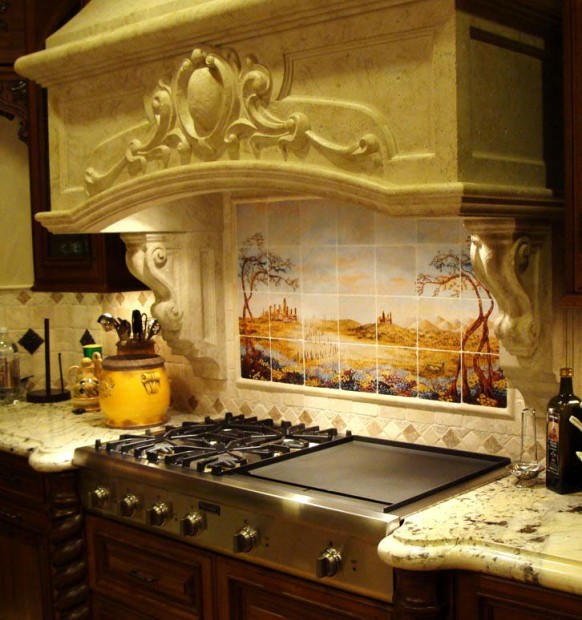 Fields of Tuscany Kitchen Backsplash Stone Hood