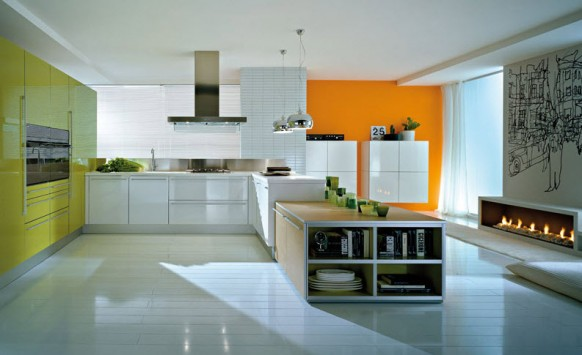 orange yellow kitchen designs