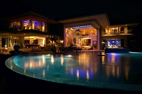 beautiful villa at night