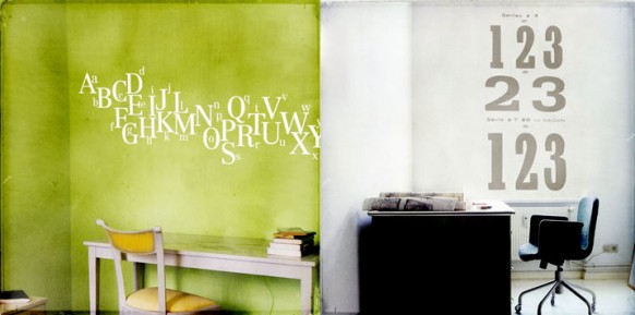 green and white wall decal1b