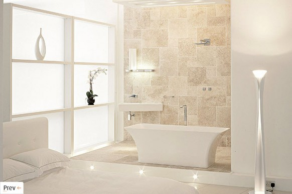 white and beige bathroom