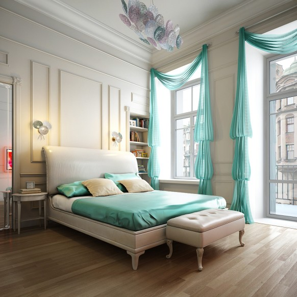 Aqua blue bedroom Spalnya 1