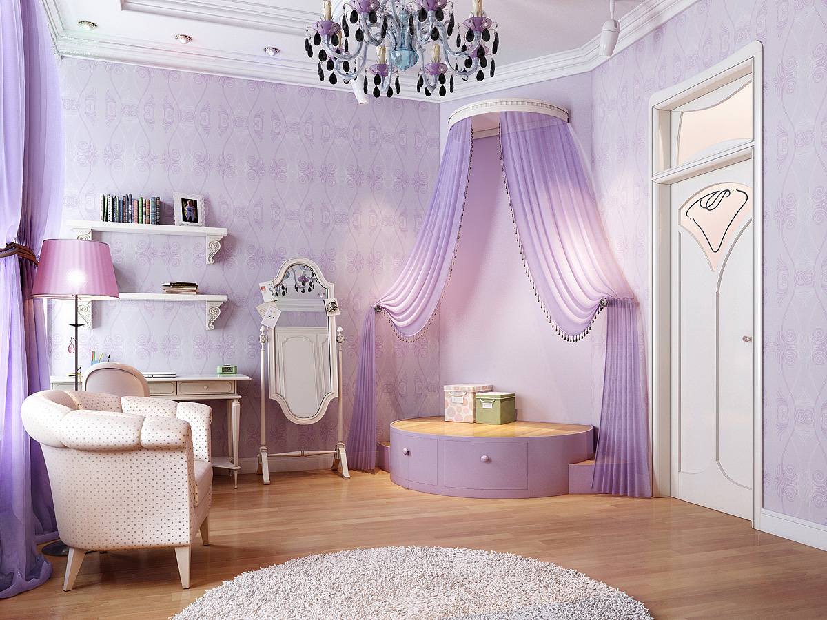Stunning home interior renders - Purple room for girls ...