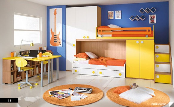 The brilliant color combination of the child bedroom