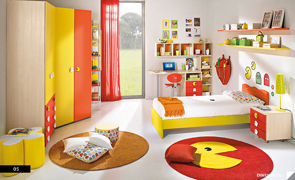 Pacman themed red and yellow kids bedroom