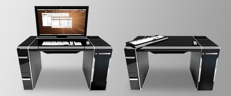 Another Computer Desk Integration Concept But This Sync Desktop By