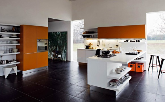 Contemporary luxury kitchen interior design with orange elements