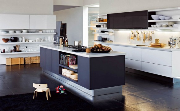 Modern luxury black and white kitchen interior design idea