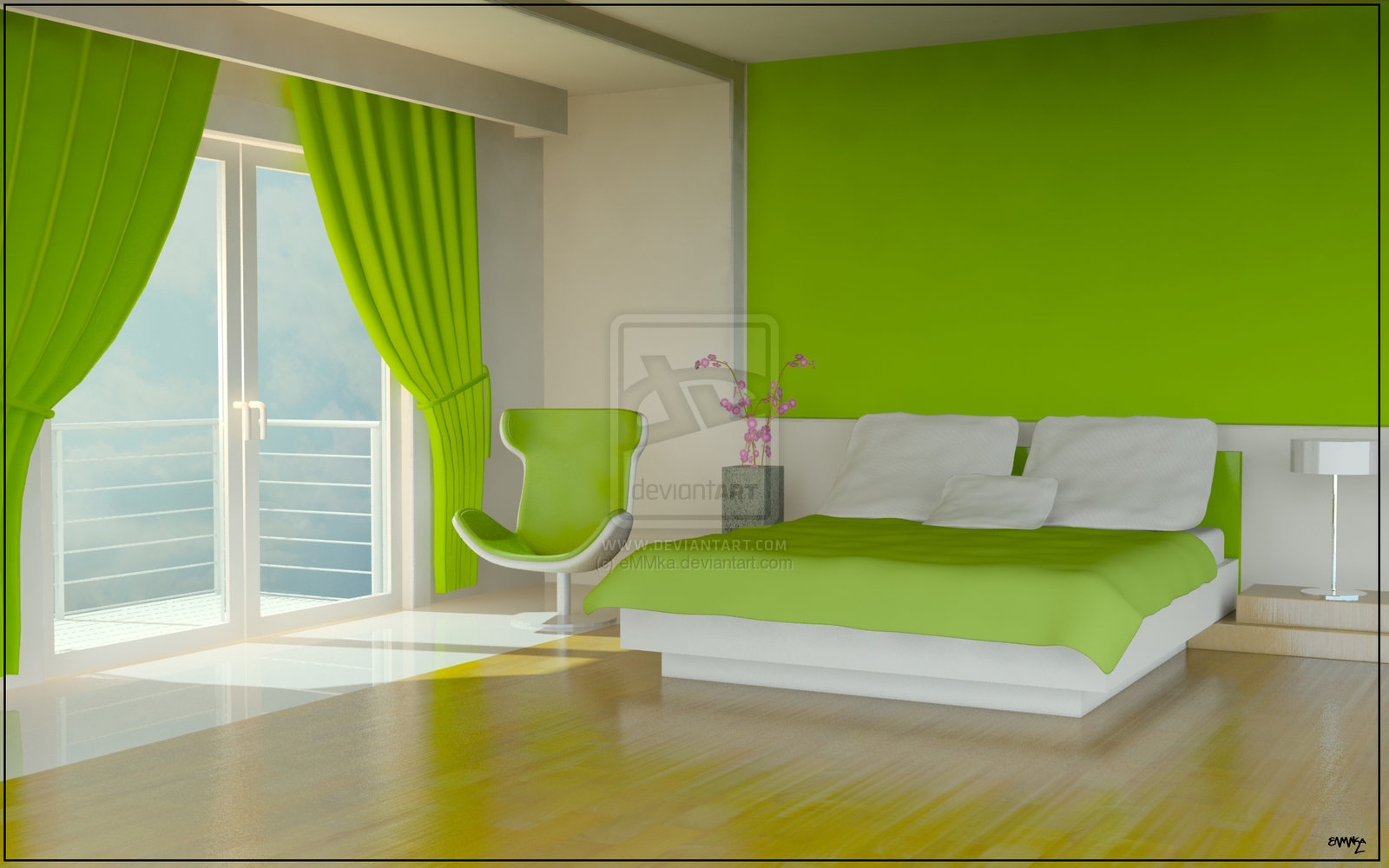 Simply green bedroom by martin kudela for Neon decoration interieur