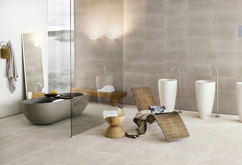 modern bath glass wall