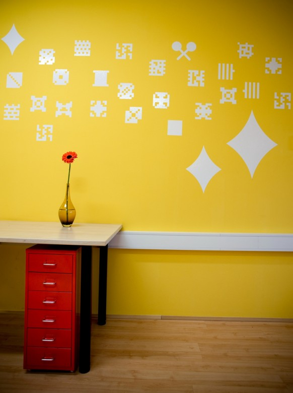Nice Design Of Office Space With Yellow Color