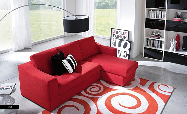 outstnading-red-sofa-with-circular-rugs-accent-for-black-white