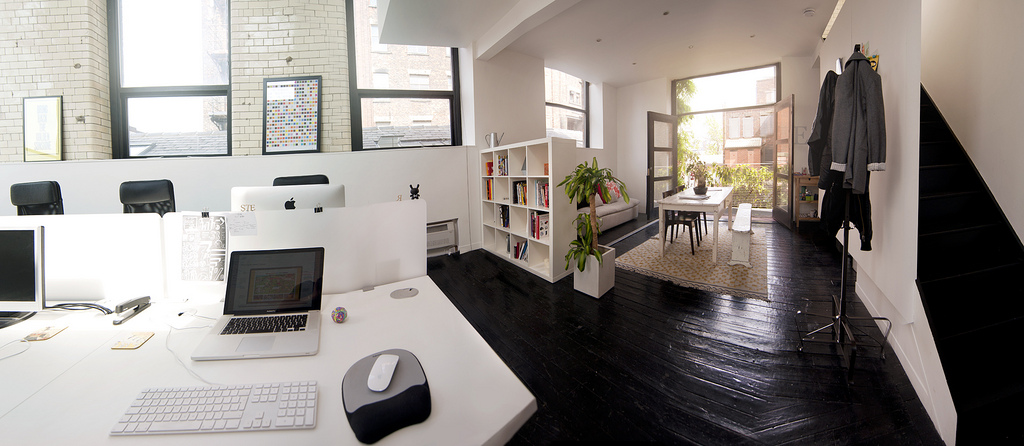 Office space of creative studio raw Creative home office design