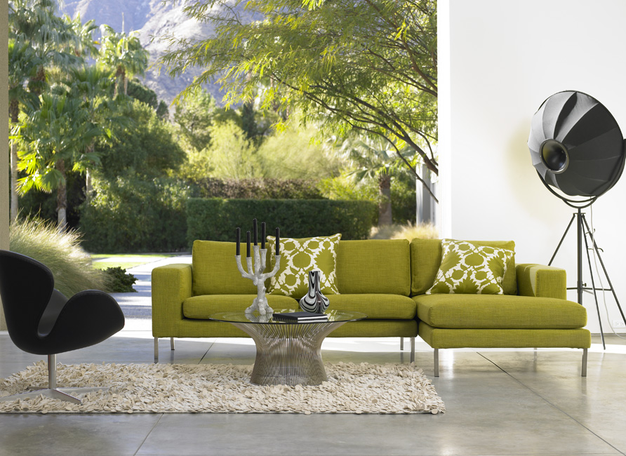 Home design green living room sofa for Modern living room green