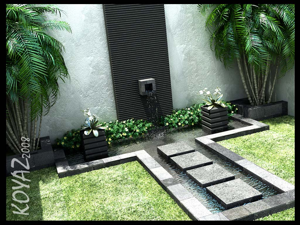 Courtyard design and landscaping ideas Water fountain landscaping ideas
