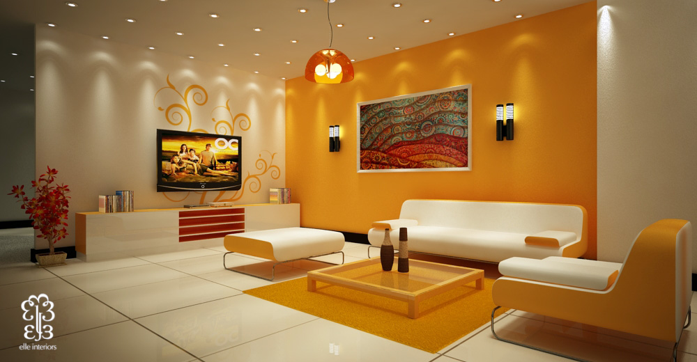 Beautiful accent wall colorful art living room - Unique Mood-Enhancing Living Rooms