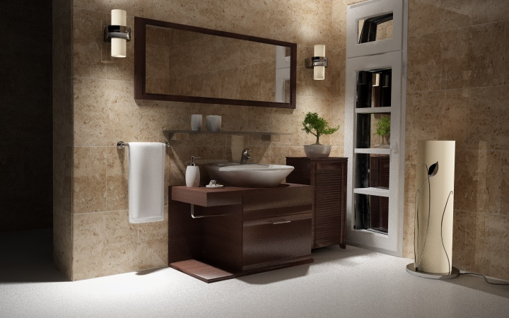 Traditional-desing-bathroom-with-wooden-furniture-big-mirror-and-glass-shelve