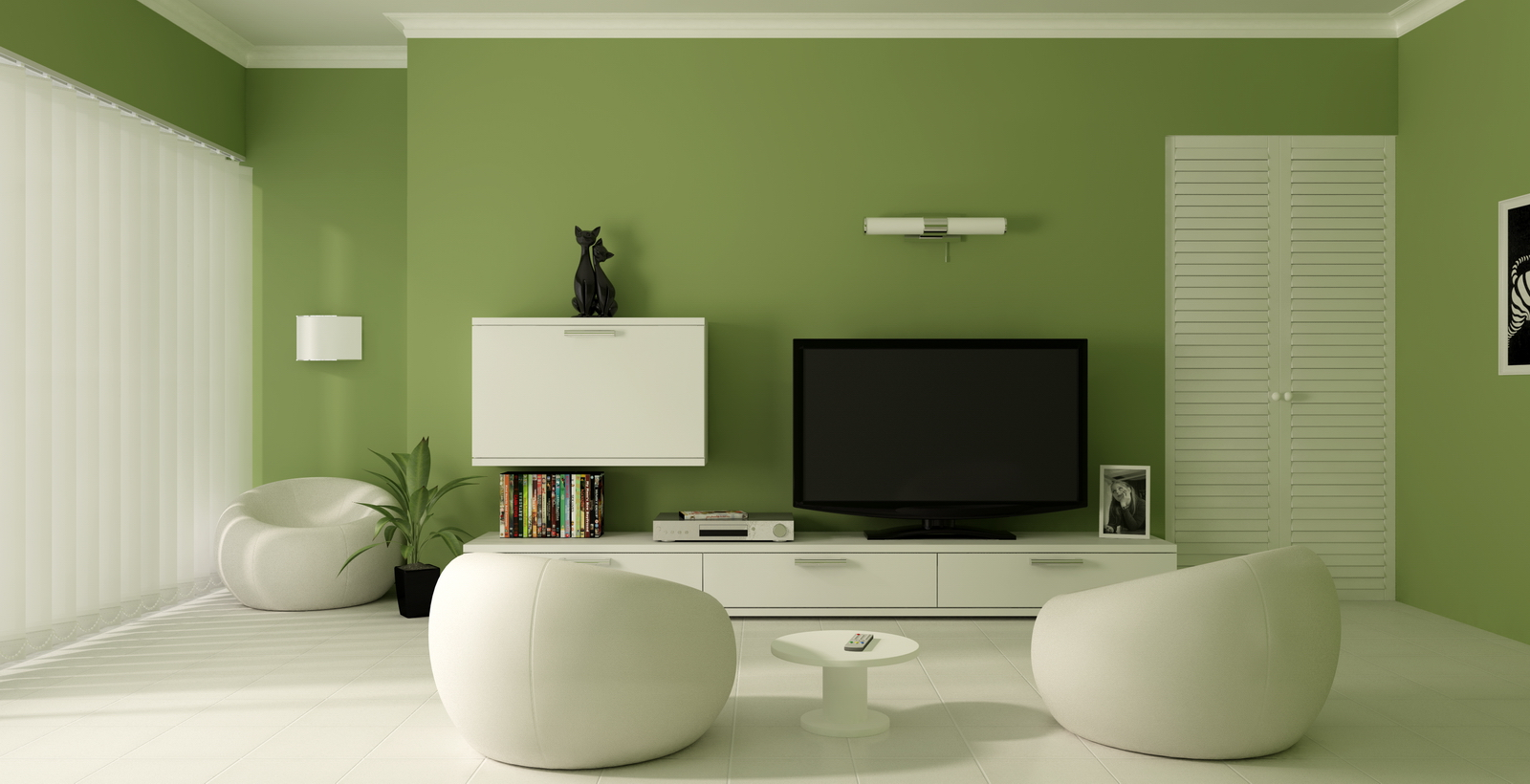 Green paint color modern living room - Unique Mood-Enhancing Living Rooms