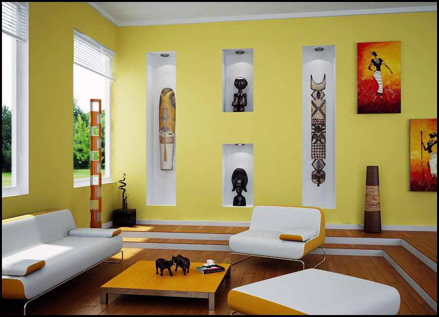 Living Room with african art - Unique Mood-Enhancing Living Rooms