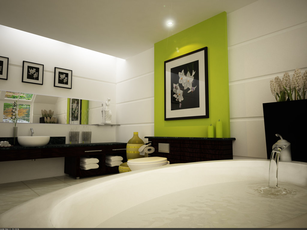 Modern-bath-with-paspardu-black-white-pictures-on-walls-and-dark-clean-line-bath-furniture
