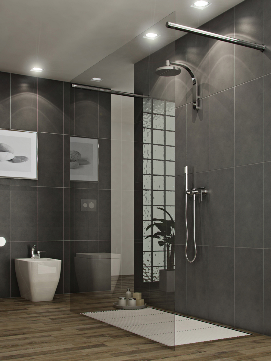 Bathrooms a l 39 abode for Bathroom ideas gray tile