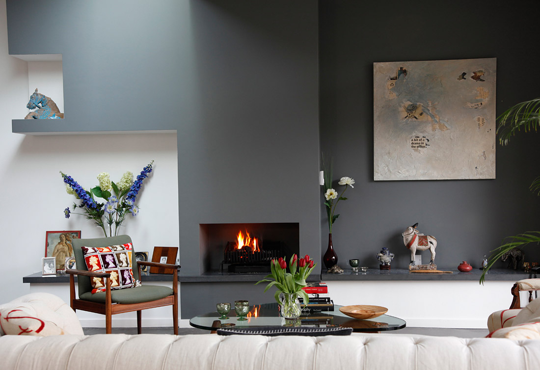 A modern eclectic house tour for Fireplace accent wall