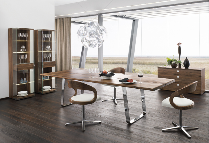 modern dining table sustainable natural wood chrome