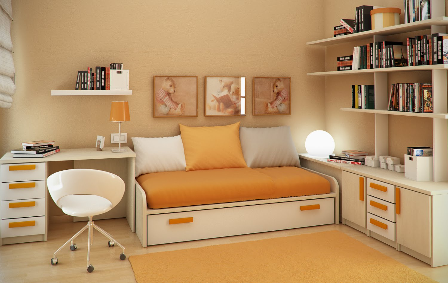 Space saving for kids small bedroom design ideas by sergi for Small space bedroom designs