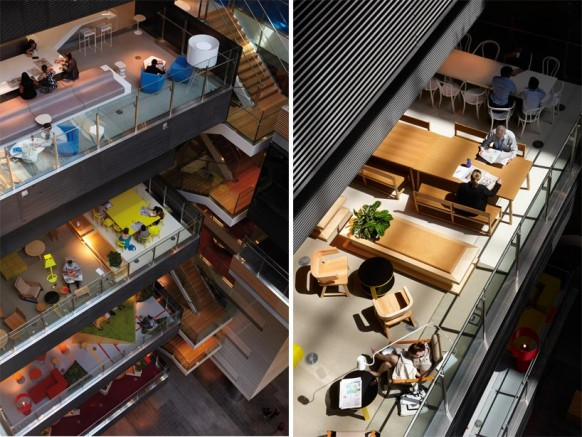 ANZ business centre atrium view colorful modern office space