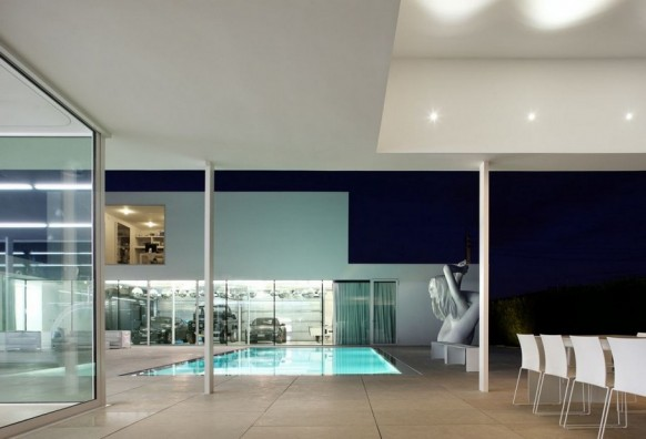 Contemporary Villa VH by Beel Achtergael Architecten Night ambience