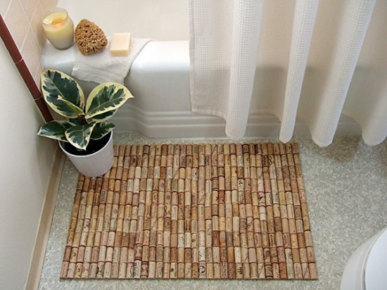 Wine Cork Bath Mat Recycled Art