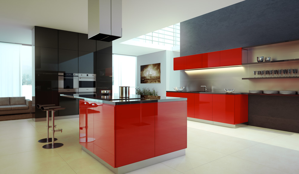 Red And Black Kitchen Cabinets Red Black Kitchen Cabinets