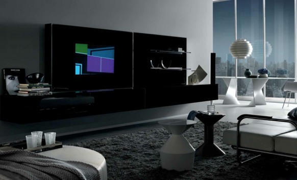 black white contemporary living spaces built ins