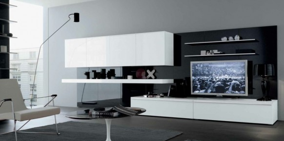 black white grey stylish contemporary living spaces built ins