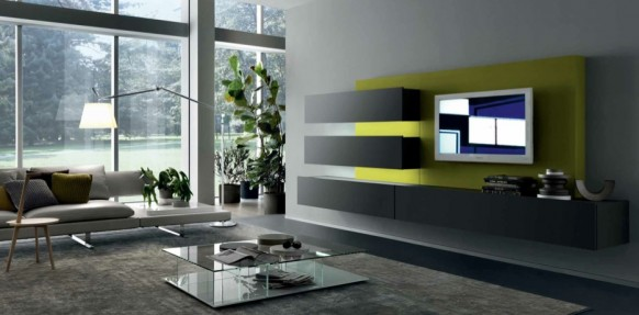 grey lime contemporary living spaces built ins