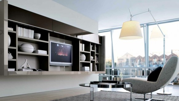 neutral contemporary living spaces built ins