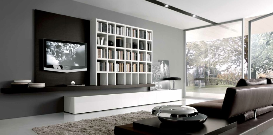 White Grey Brown Contemporary Living Es Built Ins