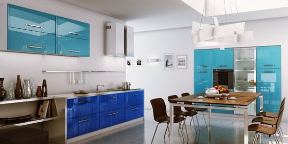 white kitchen blue accents