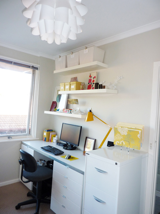 white work space yellow splashes