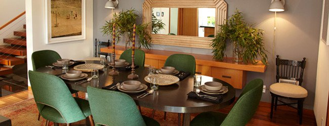 dining table with green chairs
