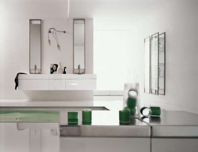 green white bathroom