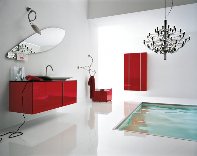 white red bathroom floor tub