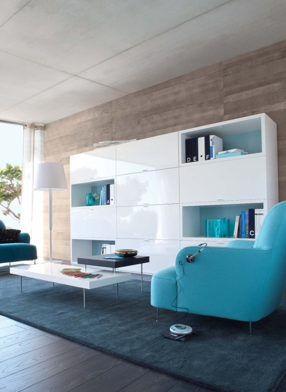 white shelf blue sofas